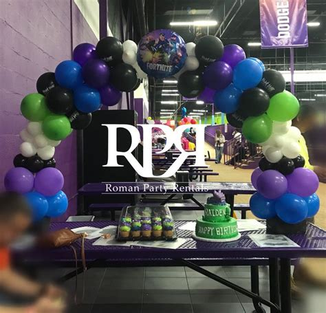 blue purple black lime green white table arch