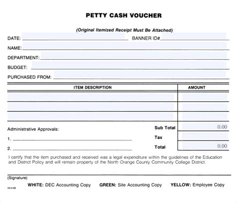 Petty Policy Template by Sle Petty Voucher Template 9 Free Documents In