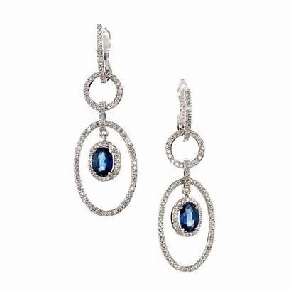Earrings Chandelier Sapphire Oval Dangle Diamond 1stdibs