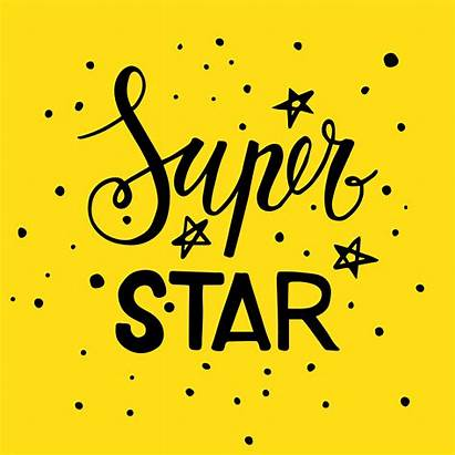 Super Star Lettering Phrase Vector Clipart Yellow