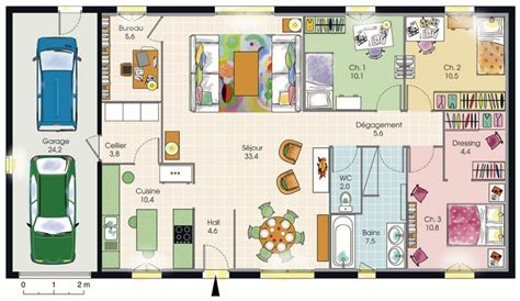 plan maison plain pied 3 chambres avec garage modèle de plan de maison plain pied avec 3 chambres et