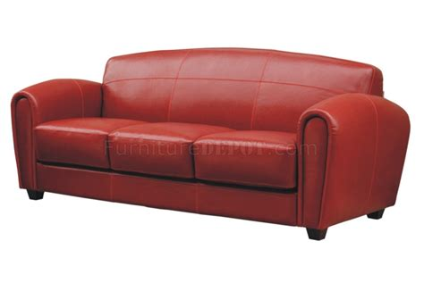 Red Leather Classic Living Room Sofa Woptions