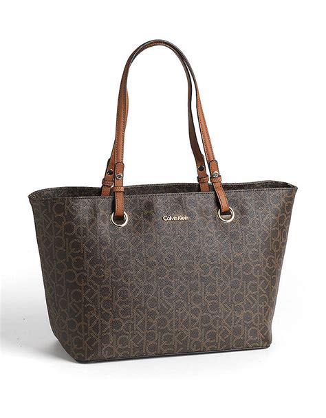 calvin klein monogram leather tote bag  brown brown
