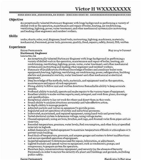 class stationary engineer resume  quest