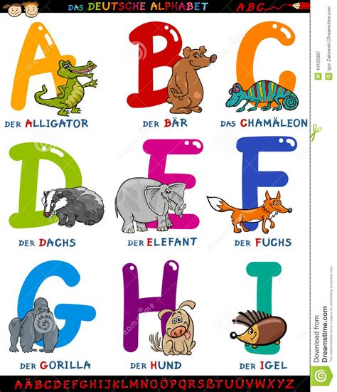 cartoon german alphabet  animals stock vector image