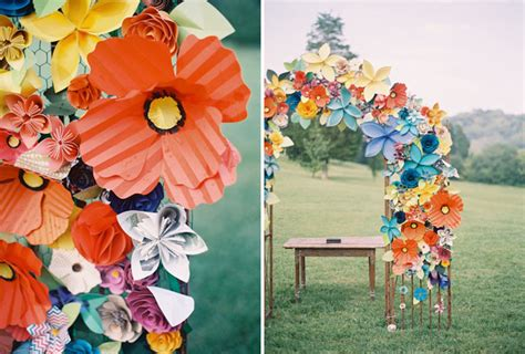 Colorful Paper Flower Wedding Caitlyn Joe Green