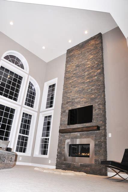 stone fireplace renovation contemporary living room