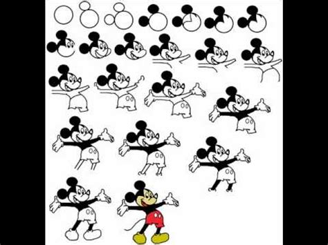 draw mickey mouse cartoon step  step drawing