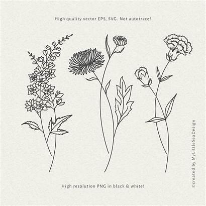 Birth Month Svg Flowers Bundle Clipart Tattoo