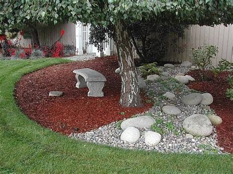 Backyard Landscaping Ideas With Rocks by What About Mixing River Rock And Pea Gravel Or Rock