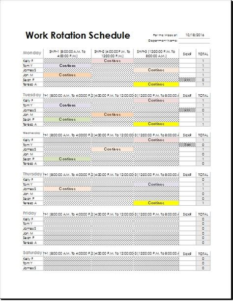 Rotation Program Template by Employee Work Rotation Schedule Template For Excel Excel