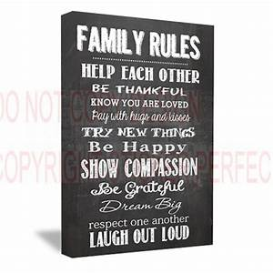 Framed canvas print family rules help each other be