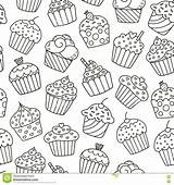 Pattern Cupcakes Seamless Coloring Background Fabric Monochrome Illustration sketch template