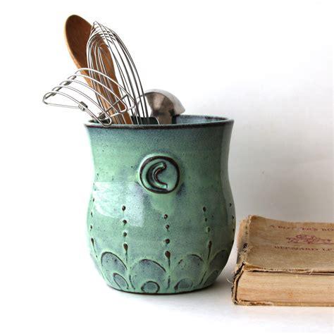 utensil holder kitchen aqua monogram country utensils french pottery unique mist verdigris sea wedding