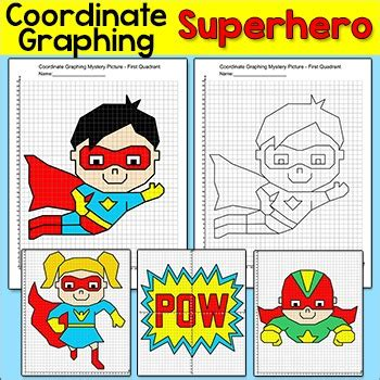 superhero coordinate graphing pictures ordered pairs