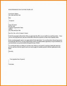 4 decline a job offer sample letter mail clerked With job offer letters templates
