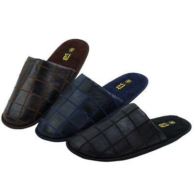 mens house slippers comfort cushioned fleece lined