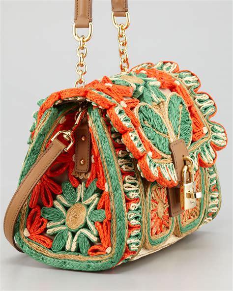 lyst dolce gabbana  dolce floral raffia satchel bag