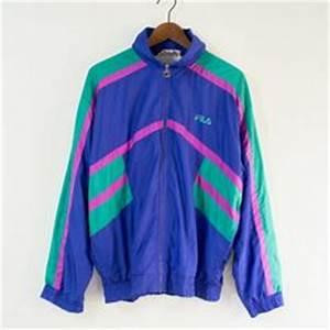 Vintage Retro Style FILA Tracksuit Top Jacket NEON stripes