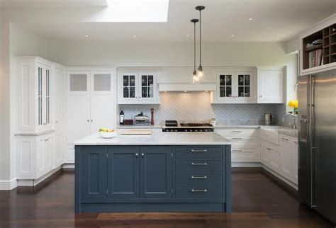White Kitchen with Blue Island   Transitional   Kitchen