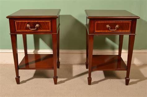 mahogany bedside table pair of edwardian inlaid mahogany bedside cabinets ref 3943