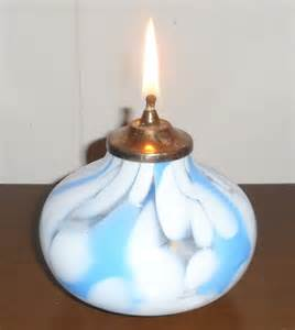 Art Deco Hand Blown Art Glass Miniature Sphere Candle Oil Lamp Light
