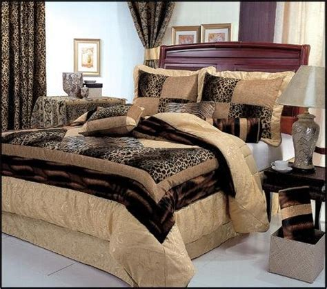 7 piece king size leopard patchwork comforter set safari