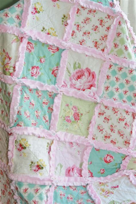 shabby chic quilts shabby chic rag quilt baby rag quilt pink blue green
