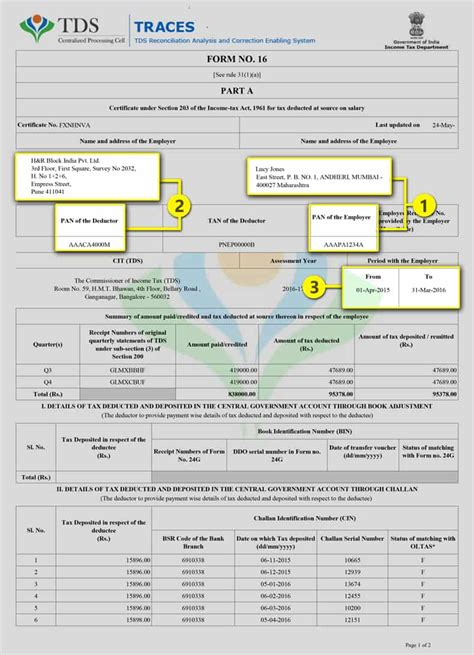 income tax section 16 form 16a h r block india