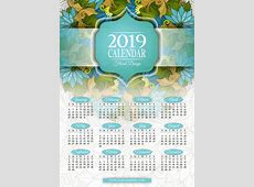 Floral wreath with 2019 calendar template vector 03 free