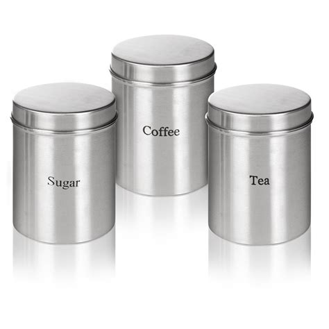 kitchen storage tins 3pc stainless steel storage jars sugar coffee tea kitchen 3189