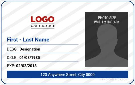 office id card templates ms word microsoft word