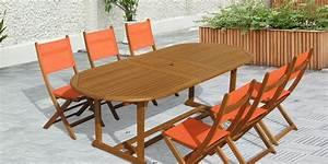 Table Et Chaise De Jardin En Bois : salon de jardin bois inca table ovale 6 chaises oogarden france ~ Teatrodelosmanantiales.com Idées de Décoration