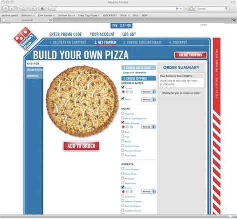 Domino's Online Ordering Shows You Your Pizza As You Build