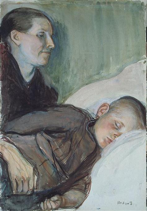 mother   sleeping child knut magnus enckell