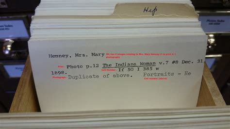 library index card researching the photograph collection indiana state library