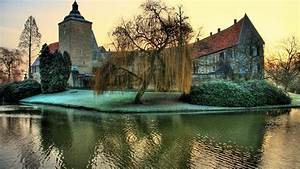 architecture, , landscape, , castle, , nature, , trees, , tower, , hdr, , germany, , water, , grass, , reflection