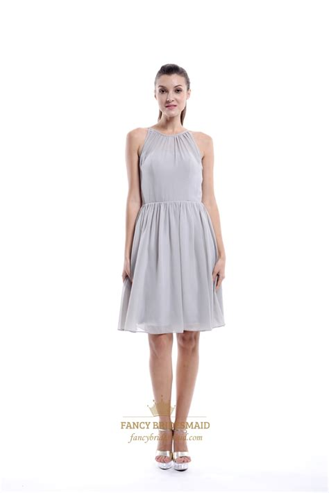 light gray bridesmaid dress light grey a line scoop neck knee length chiffon