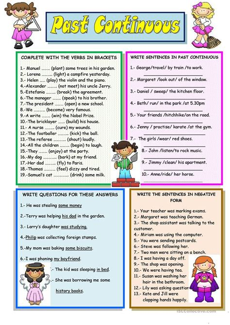 continuous english esl worksheets  distance