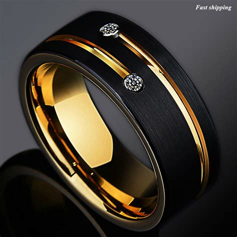 8 6mm black tungsten carbide thin line wedding band ring atop men s jewelry ebay