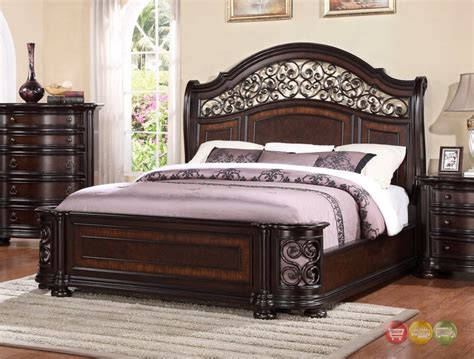 Wrought Iron Cal King Headboard by Allison Wrought Iron And Wood King Sleigh Bed In Brown