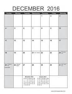 december 2016 calendar to when is calendar