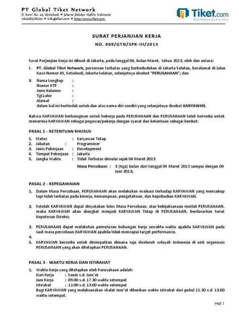 10+ Contoh kontrak Kerja Yang Baik dan Benar Paling Komplit! - Contoh Surat