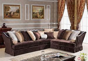 Godiva formal antique style traditional living room for Sectional sofa in formal living room