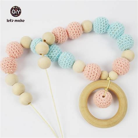 natural wooden teether wood rings  crochet beads diy