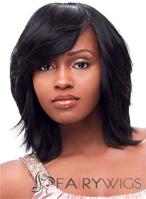 Weave Hairstyles For American by The Fresh Medium Wavy Black Side American
