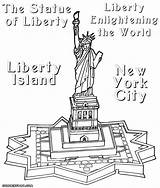 Liberty Statue Coloring Pages Drawing Line Island Getdrawings Drawn sketch template