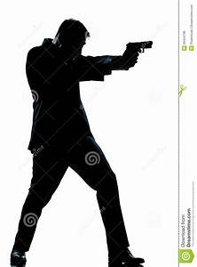 Silhouette Man Full Length Shooting With Gun Royalty Free ...