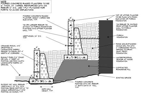 concrete retaining wall construction concrete retaining wall construction detail elizabeth mcgreevy