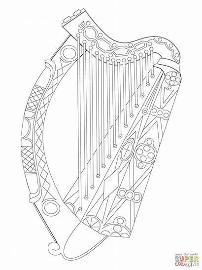 Harp Irish Celtic Symbols Ireland Drawing Coloring